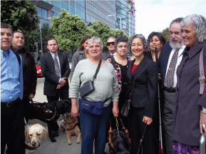 Photo of Linda Dardarian and California Council of the Blind members at federal court in San Francisco.